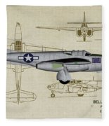 Planes Of Fame A-59 Airacomet - Profile Fleece Blanket