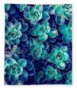 Plants Of Blue And Green Fleece Blanket