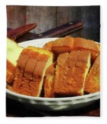 Plate With Sliced Bread And Knives Fleece Blanket