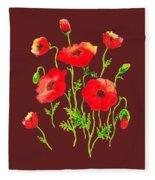 Playful Poppy Flowers Fleece Blanket