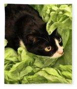 Playful Tuxedo Kitty In Green Tissue Paper Fleece Blanket