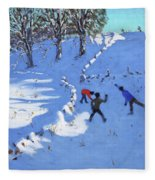 Playing In The Snow Youlgrave, Derbyshire Fleece Blanket