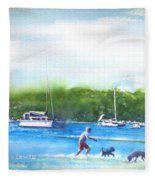 Playing With The Dogs At Rose Bay Fleece Blanket