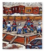 Playoff Time At The Local Hockey Rink Montreal Winter Scenes Paintings Best Canadian Art C Spandau Fleece Blanket
