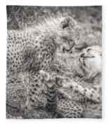 Playtime In Africa- Cheetah Cubs Acinonyx Jubatus Fleece Blanket
