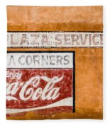 Plaza Corner Coca Cola Sign Fleece Blanket