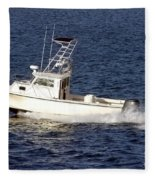 Pleasure Fishing Boat Fleece Blanket