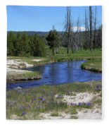 Pleated Gentians Beside Iron Creek In Black Sand Basin Fleece Blanket
