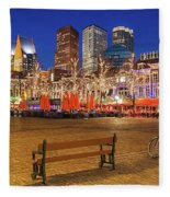 Plein Square At Night - The Hague Fleece Blanket