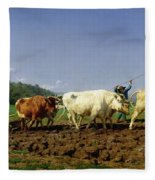 Ploughing In Nivernais Fleece Blanket