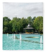 Plovdiv Singing Fountains - Bright Aquamarine Water Dancing Jets And Music Fleece Blanket