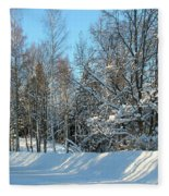 Plowed Winter Street In Sunlight Fleece Blanket