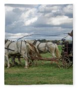 Plowing In Lancaster County Fleece Blanket