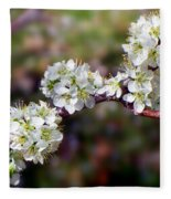 Plum Tree Blossoms Fleece Blanket