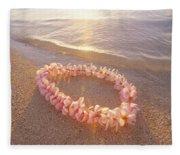 Plumeria Lei Shoreline Fleece Blanket