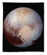 Pluto Dazzles In False Color Fleece Blanket
