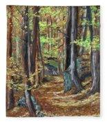 Podzim V Lese Po Pesine Behaj Bezci Fleece Blanket