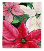 Poinsettia Pastel Fleece Blanket