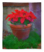 Poinsettia Pot Fleece Blanket
