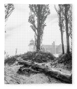Point Betsie Lighthouse In Fog Fleece Blanket