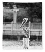Point Clear Alabama Brown Pelican - Bw Fleece Blanket