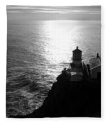 Point Reyes Lighthouse - Black And White Fleece Blanket