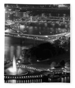 Point State Park In Black And White Fleece Blanket