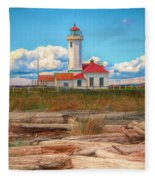 Point Wilson Lighthouse And Driftwood Fleece Blanket