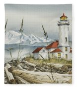 Point Wilson Lighthouse Fleece Blanket