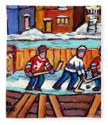 Outdoor Hockey Rink Painting  Devils Vs Rangers Sticks And Jerseys Row House In Winter C Spandau Fleece Blanket