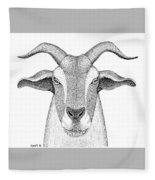 Farm Goat In Pointillism Fleece Blanket