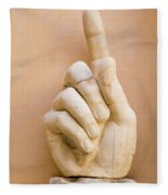 Pointing Finger, Statue Of Constantine, Rome, Italy Fleece Blanket