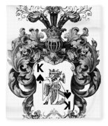 Poker King Spades Black And White Fleece Blanket