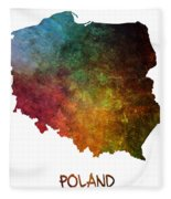 Poland Map Polska Map Fleece Blanket