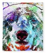 Polar Bear Colored Grunge Fleece Blanket