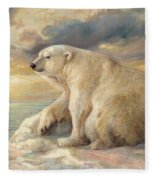 Polar Bear Rests On The Ice - Arctic Alaska Fleece Blanket