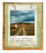 Polaroid On Weathered Wood With Bible Verse Fleece Blanket