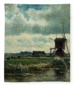 Polder Landscape With Windmill Near Aboude Fleece Blanket