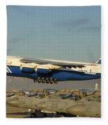 Polet Antonov An-124 Ra-82080 Taking Off Phoenix-mesa Gateway Airport January 15 2011 Fleece Blanket