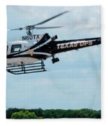 Police Helicopter Taking Off Fleece Blanket