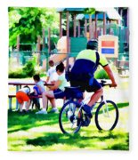 Police Officer Rides A Bicycle Fleece Blanket