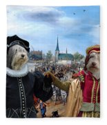 Polish Lowland Sheepdog Art Canvas Print - Prince And Princess Of Orange Fleece Blanket