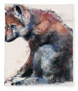 Polish Wolf Pup Fleece Blanket
