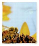 Pollen-coated Honey Bee On A Sunflower Fleece Blanket