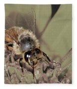 Pollinating Bee Fleece Blanket