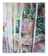 Polynesian Maori Warrior With Spears Fleece Blanket