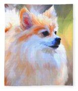 Pomeranian Portrait Fleece Blanket