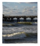 Pompano Beach Fishing Pier At Sunrise Florida Sunrise Waves Fleece Blanket
