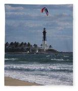 Pompano Beach Kiteboarder Hillsboro Lighthouse Catching Major Air Fleece Blanket
