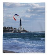 Pompano Beach Kiteboarder Hillsboro Lighthouse Fleece Blanket